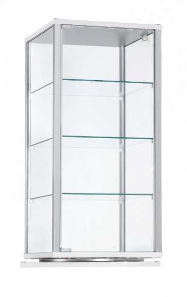 Alu-Aufsatzvitrine drehbar 41,7x41,7x97,2 cm, optional LED Beleuchtung