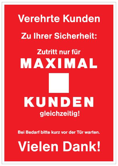 A1 Plakat -Maximale Kundenanzahl-