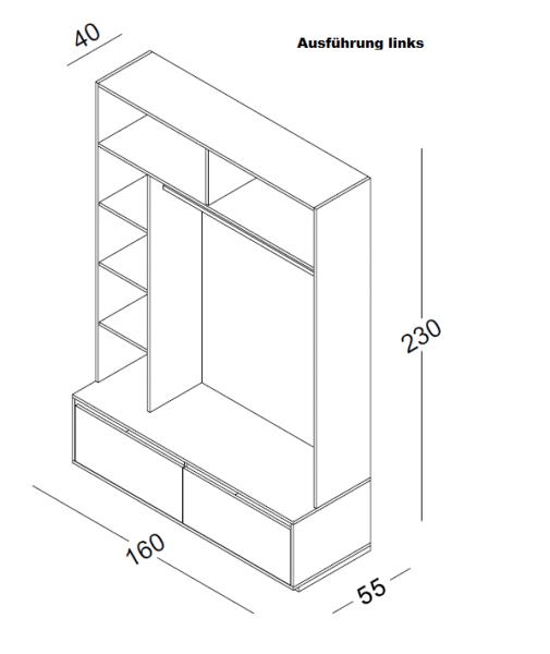 Wandelement H 230 cm B 160 cm