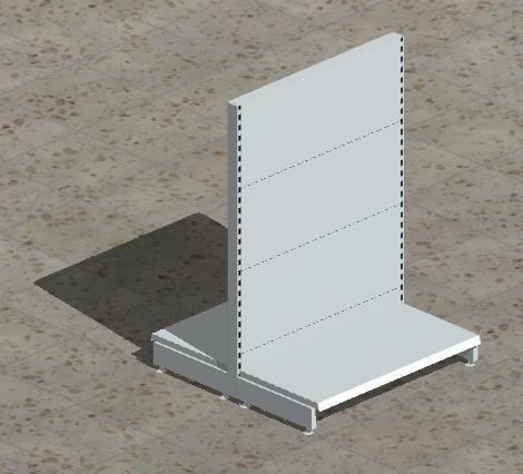Grund-Gondelregal mit glatten Rückwänden H 140 cm