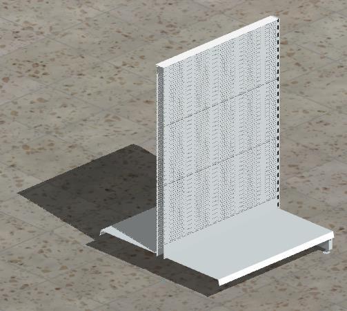 Anbau-Gondelregal mit gelochten Rückwänden H 140 cm