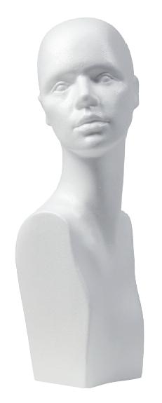 Damenkopf Styropor mit Schulteransatz, weiss