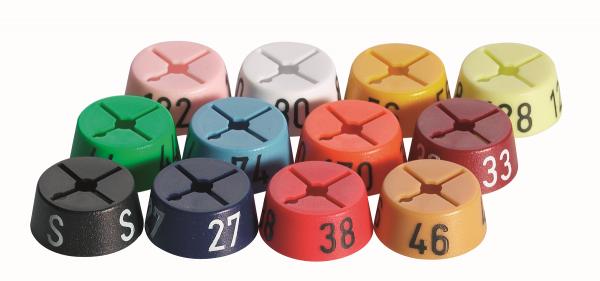 Größenfinder -rund- bedruckt, Farbsystem Beutel je 25 Stck.
