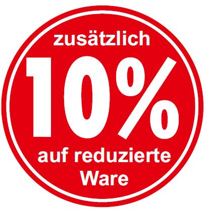 """Ankleber """"zusätzlich 10% auf reduzierte Ware"""", d 32 cm"""
