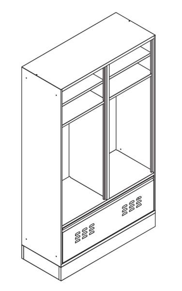 SpindStyle mit offenem Ablagefach und Schublade