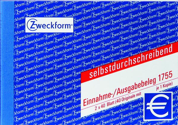 Zweckform-Formular Einnahme-/Ausgabebeleg 1755 (2x