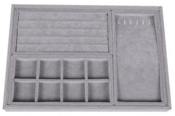 Schmuckkassette für verschiedene Schmuckarten, Samt grau
