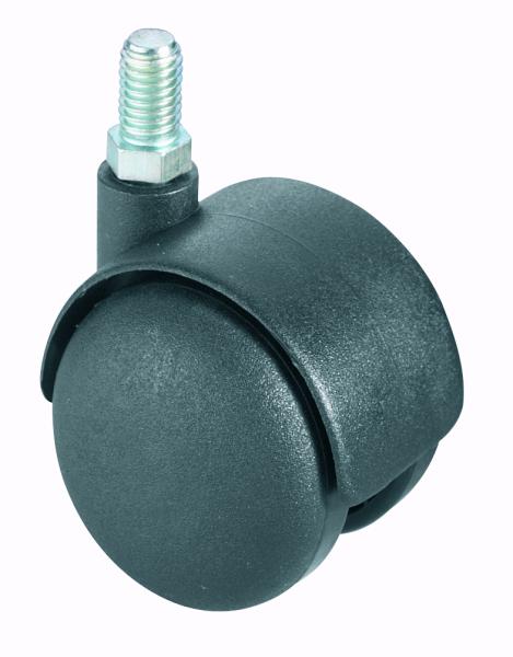 Kunststoffdoppellenkrolle ungebremst, D 50mm, M10