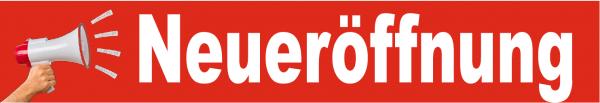 Ankleber Neueröffnung Megafon 20x90 cm