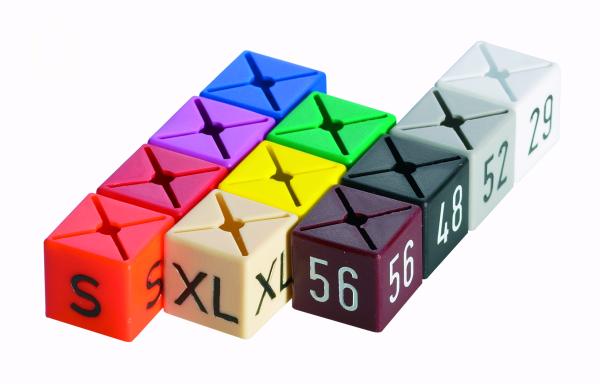 Größenfinder -Würfel- bedruckt, Farbsystem Beutel je 25 Stck.