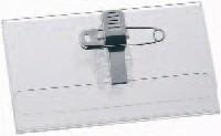 Namenschild mit Kombiklemme, Hartfolie, 54x90mm