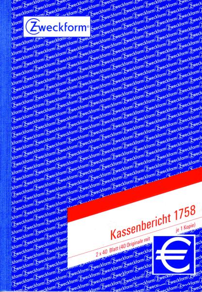 Zweckform-Formular Kassenbericht 1758 2x40Blatt