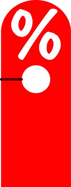 "Hänger "" % "" Hart-PVC ,doppelseitig, rot, kurz"