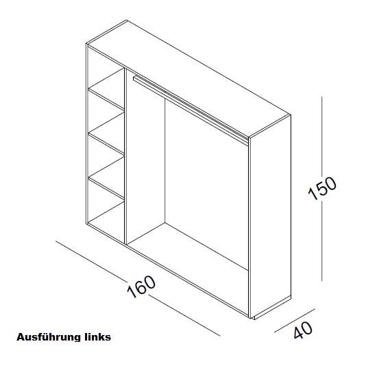 Element mit Rückwand H 150 cm B 160 cm