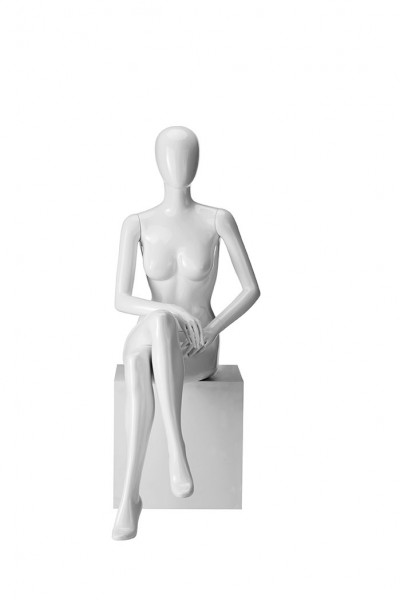 Dame sitzend hochglanz mit abstraktem Kopf