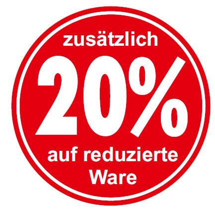"""Ankleber """"zusätzlich 20% auf reduzierte Ware"""", d 32 cm"""