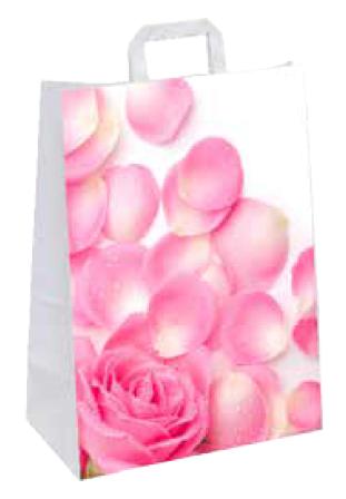 "Papiertragetasche ""Pink Rose"" 22+10x28 cm"