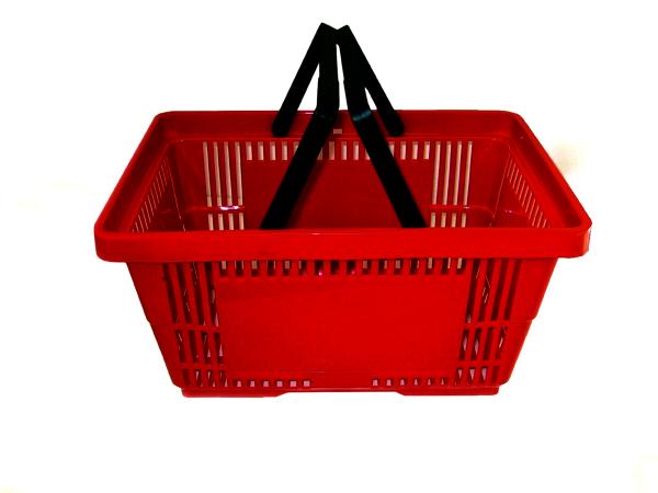 Kunstoff-Einkaufskorb 22 Liter, 2 Griffe, Farbe rot