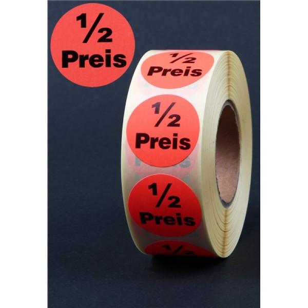 Klebeetiketten Rolle 1000St ½ Preis , D 32mm