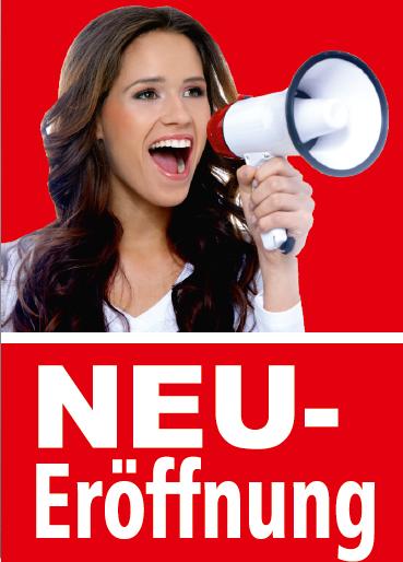 """A1 Poster """"Neueröffnung"""" für Plakat-rahmen -Ständer"""