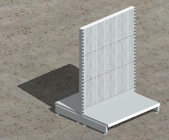 Grund-Gondelregal mit gelochten Rückwänden H 140 cm