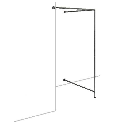 Eck-Umkleidekabine zur Wandmontage aus Rundrohr