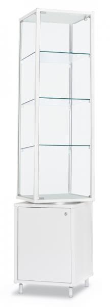 Alu-Profilvitrine drehbar 41,7x41,7x184,6 cm, optional LED Beleuchtung