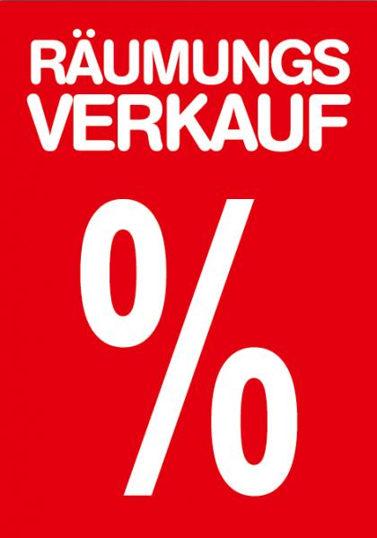 """A1 Poster """"Räumungverkauf %"""" für Plakat-rahmen -Ständer"""