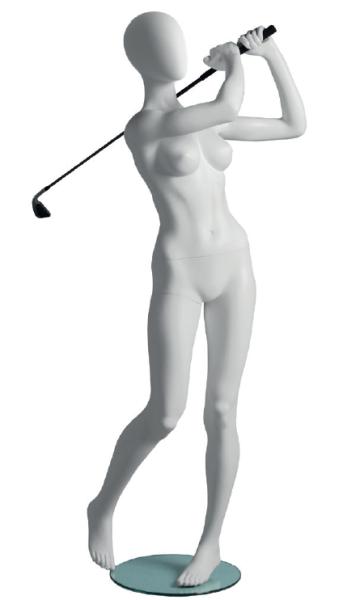 Dame Golfer mit abstraktem Kopf