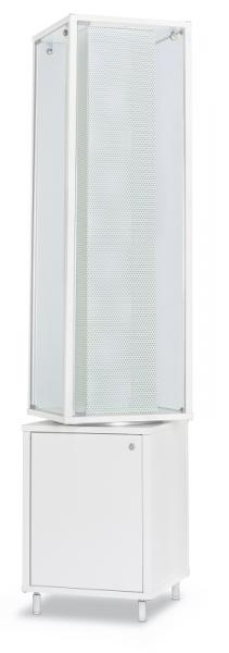 Alu-Profilvitrine mit Lochblechsäule drehbar 41,7x41,7x184,6 cm, optional LED Beleuchtung