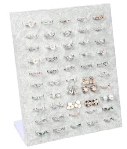 Schmuckpräsenter für Ringe oder Ohrstecker, Samt grau