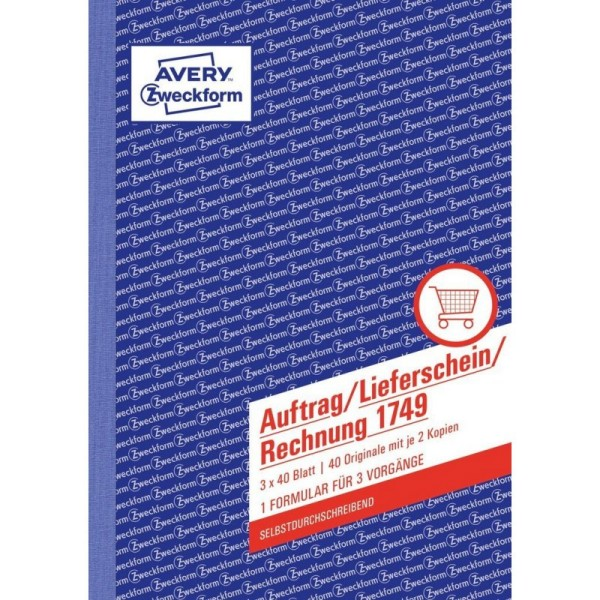 Auftrag/Lieferschein/Rechnung Block 1749 (3x40Blat