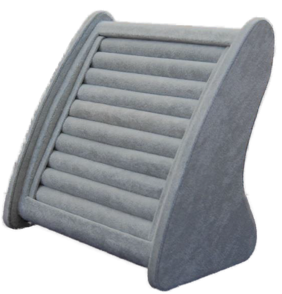 Schmuckpräsenter für Ringe und Ohrstecker, Samt grau
